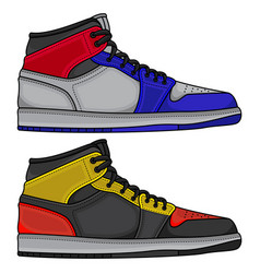 set basketball shoes vector image