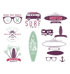 Set of vintage surfing graphics and emblems for vector