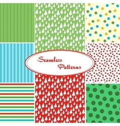 set sweet seamless patterns vector image