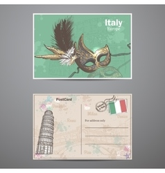 Set two sides of a postcard on the theme Italy vector