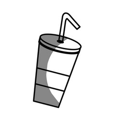 Silhouette delicious refreshing soda beverage vector