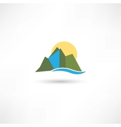 Simple mountains symbol vector