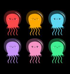 Six jellyfish icon set cute cartoon kawaii funny vector