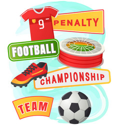 soccer symbols set sport football banner vector image
