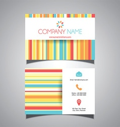 striped colourful business card design 1407 vector image
