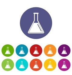 Test tube with oil set icons vector image