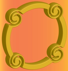 Three-dimensional gold ring distorted on an orange vector