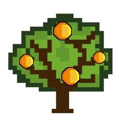 tree and coin game pixel figure vector image