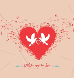 Valentines day music elements greeting card vector image