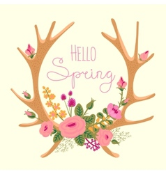 Vintage card with deer antlers and flowers vector