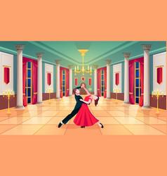 Waltz dancers in royal palace ballroom hall vector