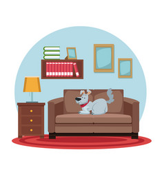 White background with circular colorful scene dog vector