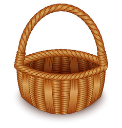 wicker basket on white background vector image