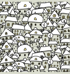winter city sketch seamless pattern for your vector image