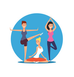 Young girls doing yoga exersises yoga pilates or vector