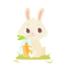 cute baby bunny sitting on a green grass vector image vector image
