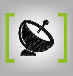 satellite dish sign black scribble icon vector image