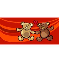 teddy bears in love valentine card vector image