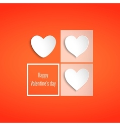 White paper hearts Valentines day card on red vector image vector image
