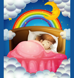 bedtime with girl sleeping in bed vector image
