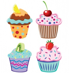 cupcakes with fruits vector image vector image