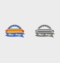 hotdog badge labels logos or icons design vector image vector image