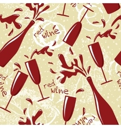 seamless red wine pattern vector image