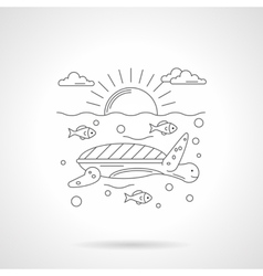 Turtle in sea detailed line icon vector image