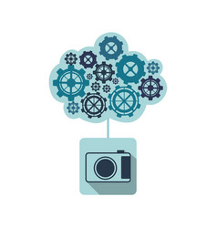 blue camara with cloud of gears icon vector image