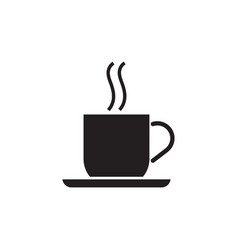 coffee cup with a plate black vector image vector image