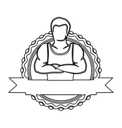 contour sticker border with muscle man crossed vector image