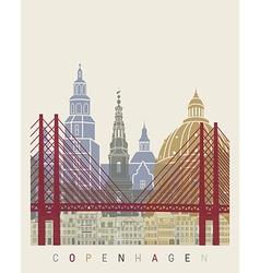 Copenhagen skyline poster vector image vector image
