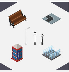 isometric city set of fountain sitting street vector image vector image