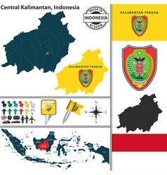 Map of Central Kalimantan vector image vector image