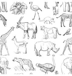 Seamless animal planet pattern vector image