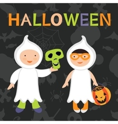 Trick or treat kids Boy and girl in vector image