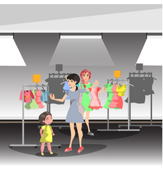 womans in shop buy clothes vector image
