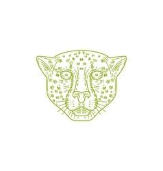 Cheetah Head Mono Line vector image vector image