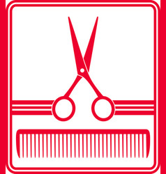 red hairdresser icon vector image