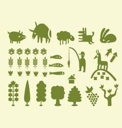 silhouettes of trees and animals vector image