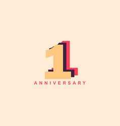 1 years anniversary template design vector