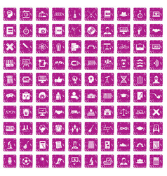 100 student icons set grunge pink vector