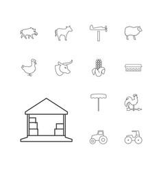 13 farm icons vector