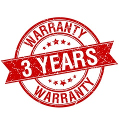 3 years warranty grunge retro red isolated ribbon vector