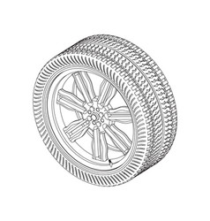 3d model of wheels on a white vector image