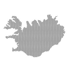 Abstract iceland country silhouette of wavy black vector
