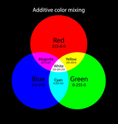 Additive color mixing scheme rgb colors theory vector