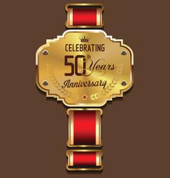Anniversary golden banner 50 years vector