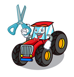 Barber tractor character cartoon style vector