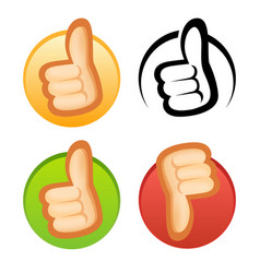 beautiful style thumb up and down icons vector image